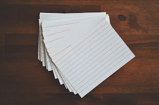 A stack of 3 by 5 index cards used for memorization