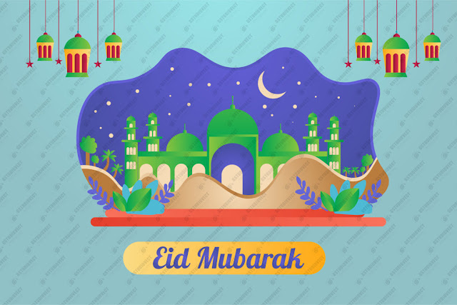 eid mubarak illustration free vector download