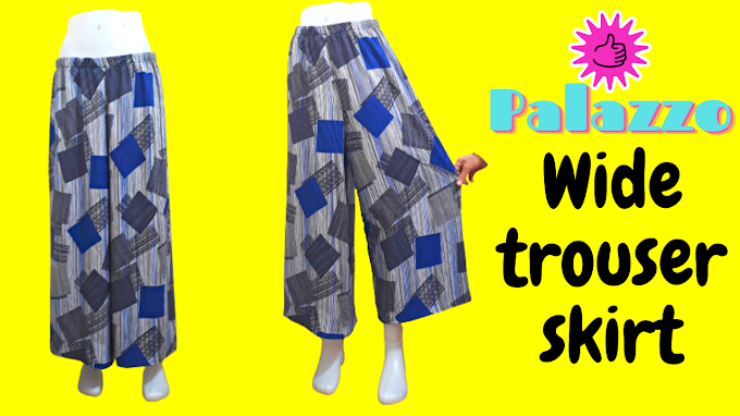 Skirt pants sewing / Palazzo baggy trousers cutting and sewing / Sewing projects and Sewing tutorial