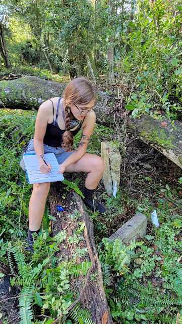 Tess Rose mapping a grave at the Pinehurst Cemetery