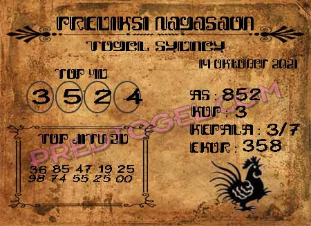 Prediksi Nagasaon Togel Sidney Kamis 14-Okt-2021