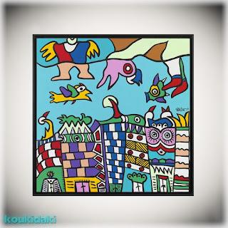 Πίνακας Θανάση Λάλα (Αόρατη πόλη, ακρυλικό σε καμβά)