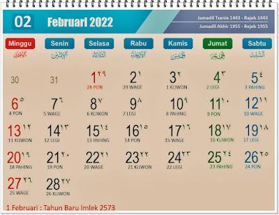 Kalender Bulan Februari 2022 Lengkap Hari Peringatannya - kanalmu