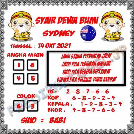 Syair Dewa Bumi Sidney Hari Ini 14-10-2021