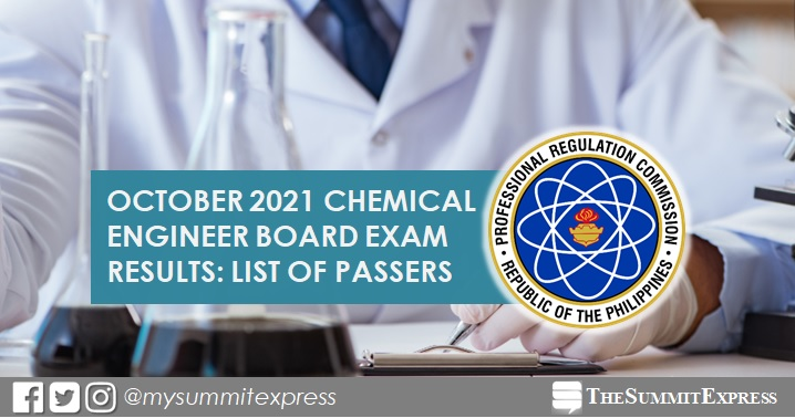 FULL RESULTS: October 2021 Chemical Engineer ChemEng board exam list of passers