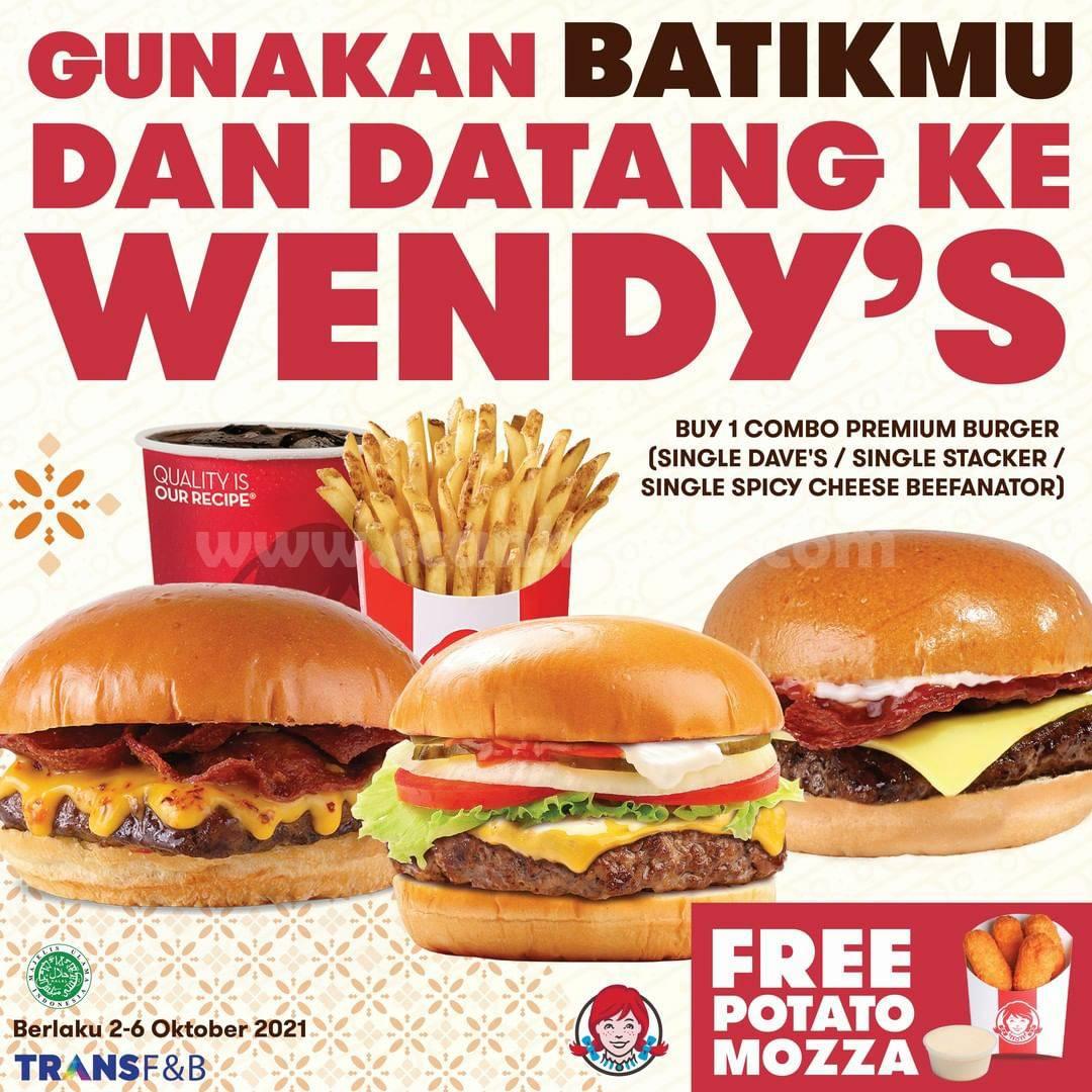 WENDY'S Promo Hari Batik Nasional - GRATIS Snack Potato Mozza