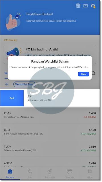 pendaftaran aplikasi investasi online ajaib berhasil
