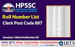 Roll Number List for the Post of Clerk Post Code 887 -HPSSC Hamirpur