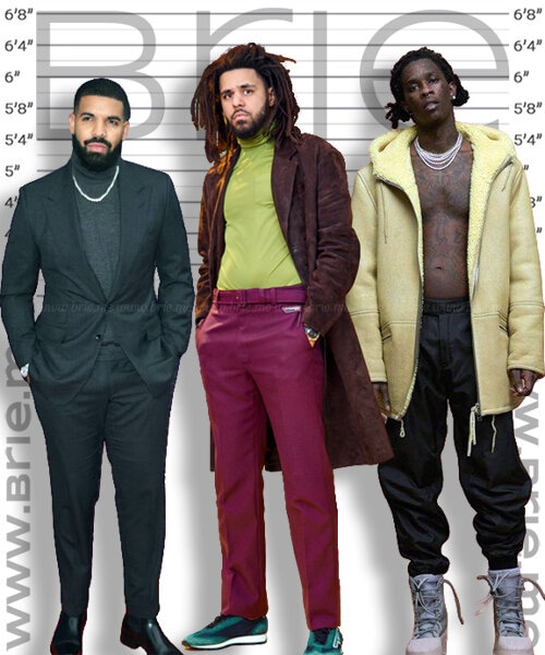 J. Cole height comparison with Drake and Young Thug