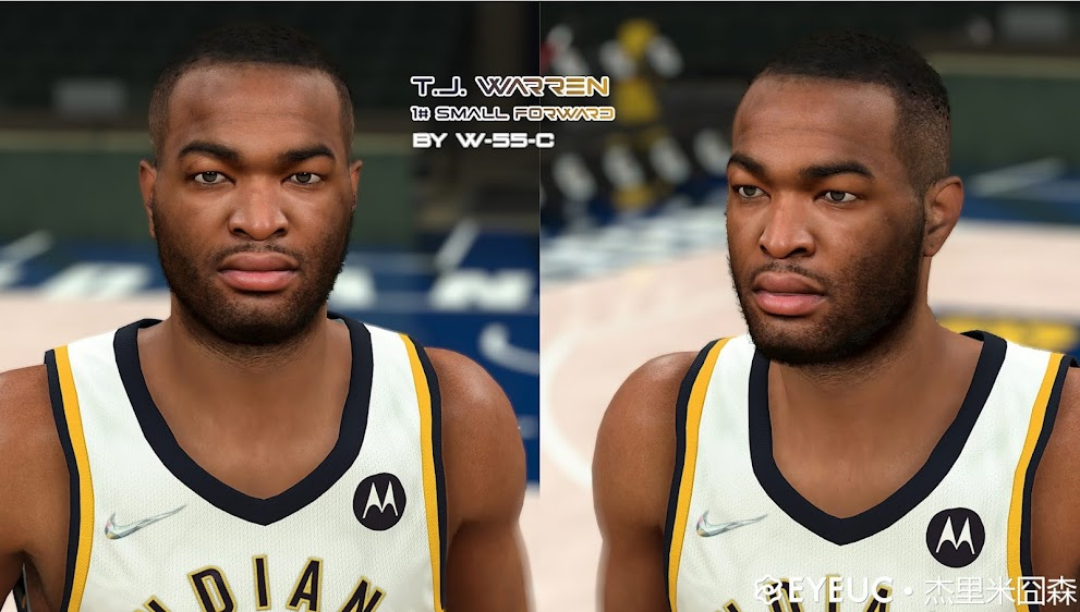 NBA 2K22 TJ Warren Cyberface, Hair and Body Model V2 (current Look) by White55Chocolate
