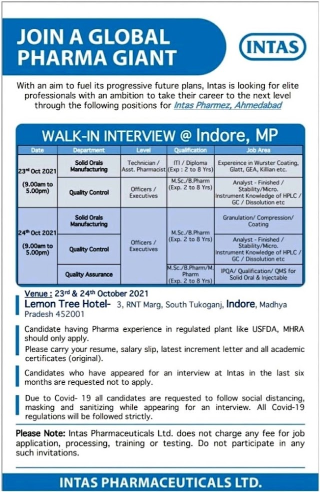 Intas Pharma   Walk-in for Mfg/QC/QA at Indore on 23rd & 24th Oct 2021