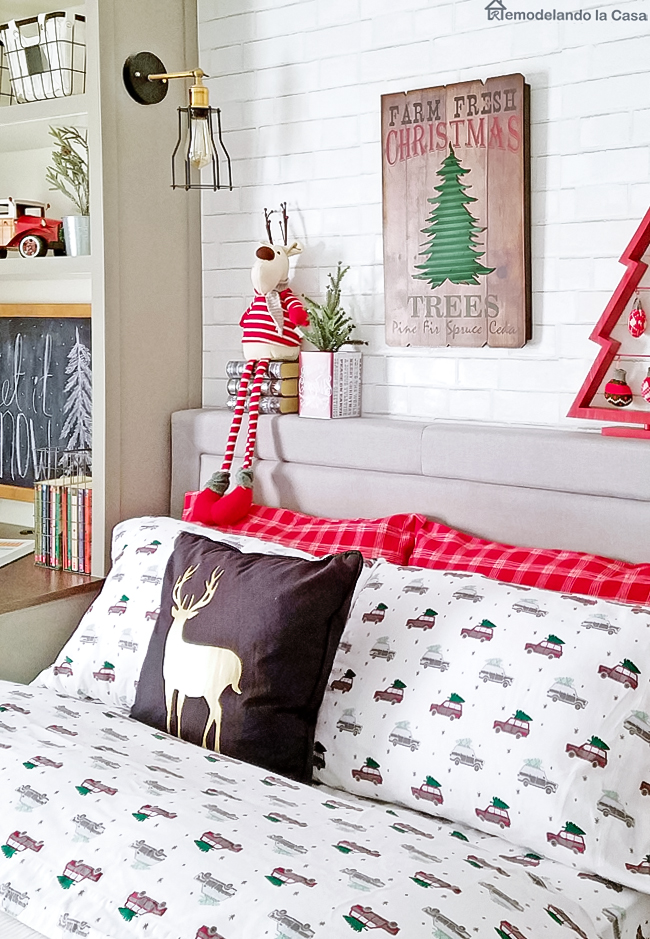 gray and red boy bedroom for Christmas
