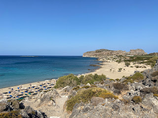 View of northernmost beach of Falassarna with ancient acropolis in the background.