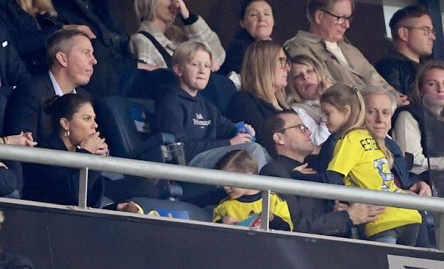 Crown Princess Victoria, Prince Daniel, Princess Estelle and Prince Oscar at Friends Arena