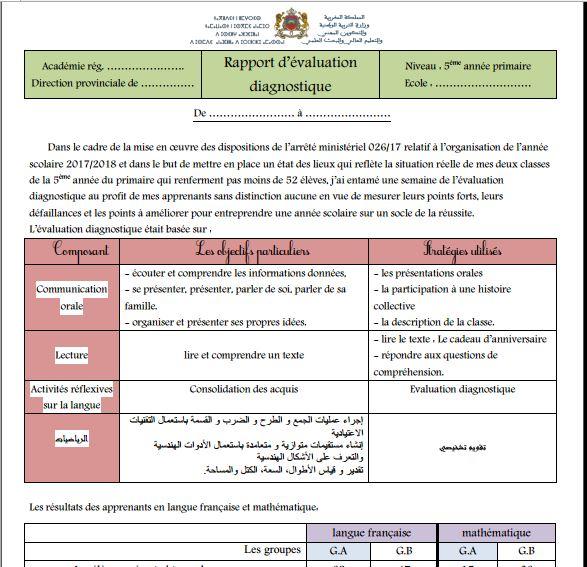 Rapport d'évaluation diagnostique 5 AEP 2022