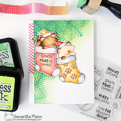 Santa Paws is Coming to Town Card by Samantha Mann for Newton's Nook Designs, Distress Inks, Ink Blending, Christmas, Christmas Card, Handmade Cards, Card Making #newtonsnook #newtonsnookdesigns #christmascard #cardmaking #christmas
