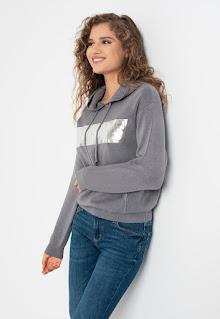 Guess Jeans - Дамски Суитшърт Gemma с метализирано лого