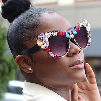 Jeweled Oversized Cat Eye Sunglasses