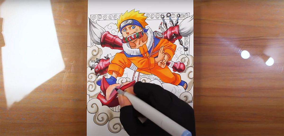 Ilustradora Mayara Rodrigues compartilha vídeo incrível que mostra como desenhar Naruto em tempo real