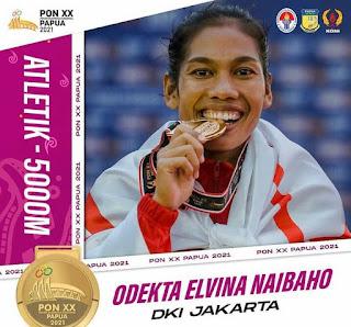 Odekta Elvina Naibaho Raih Emas 5.000 Meter Putri PON Papua