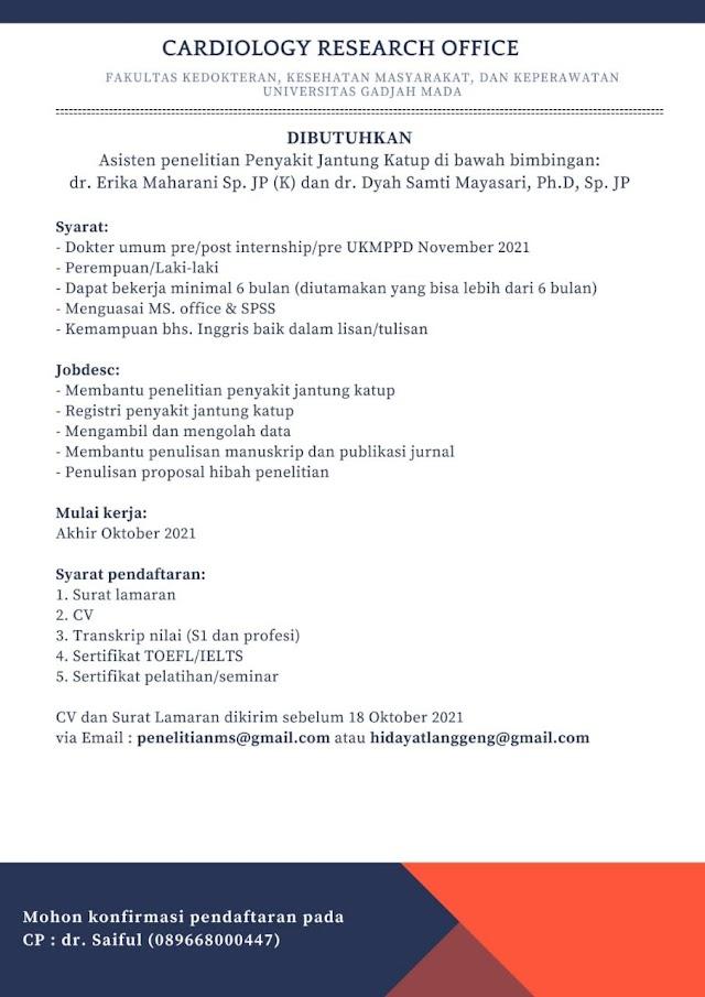 Loker Asisten Penelitian Penyakit Jantung Katup (Cardiology Research Office)