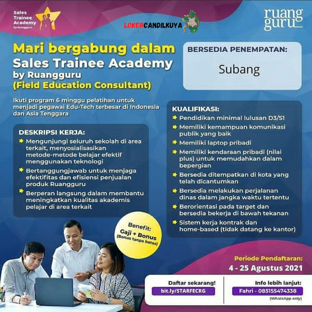 Lowongan Kerja Sales Trainee Academy by Ruangguru Subang