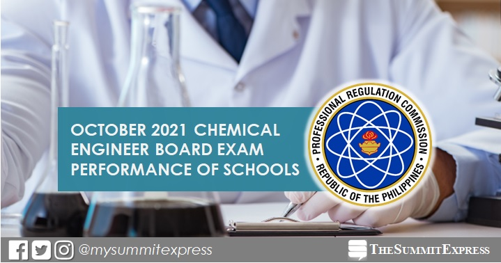 PERFORMANCE OF SCHOOLS: October 2021 Chemical Engineer board exam results