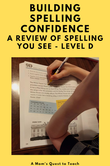 A Mom's Quest to Teach:  Building Spelling Confidence: A Review of Spelling You See - Level D - student working in student workbook