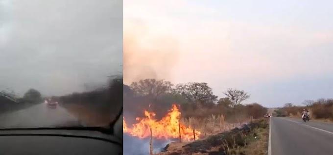 Macaúbas-BA: Chuvas ajudam a reduzir incêndio após fogo se aproximar de residências