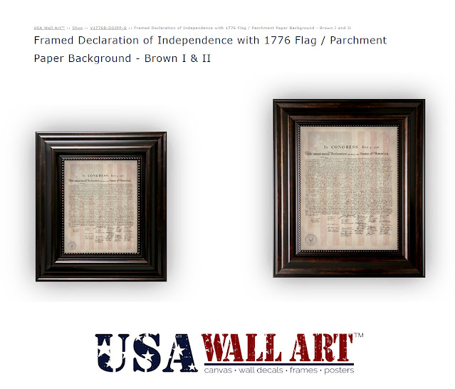 Betsy Ross 1776 Flag with Declaration Inset on Parchment Paper