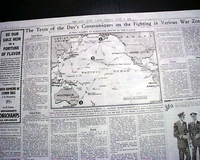 Map of Pacific battles in NY Times 5 June 1942 worldwartwo.filminspector.cmo