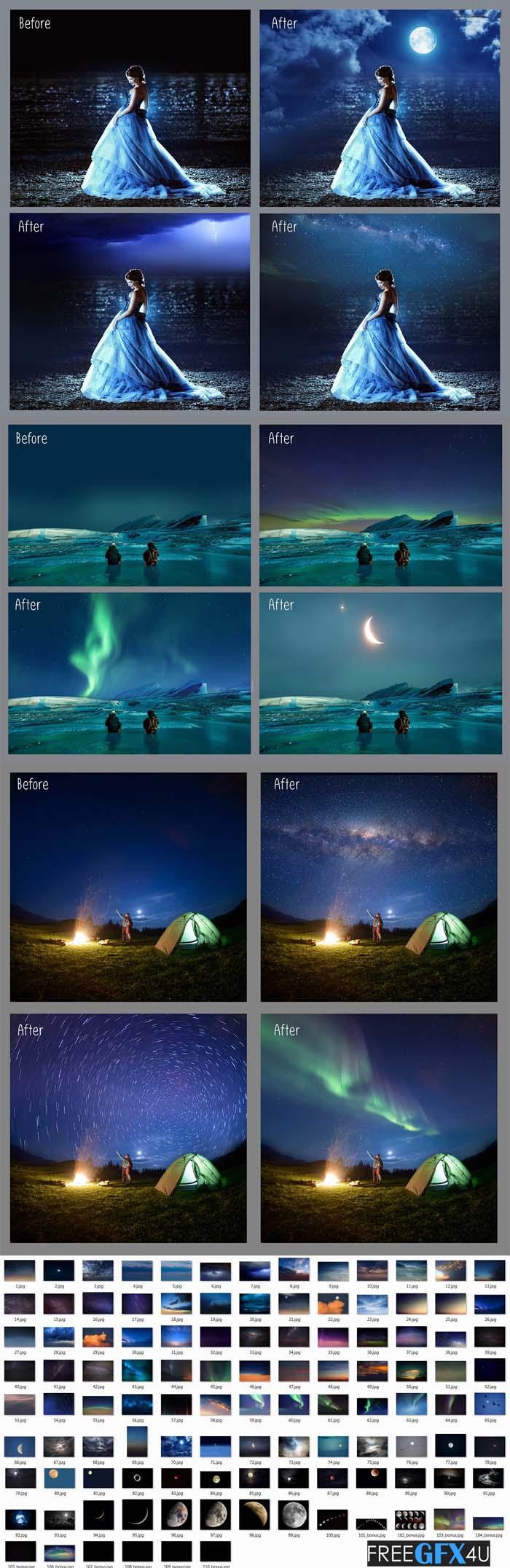 100 Night Sky Overlays