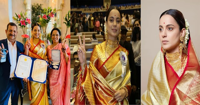 हिमाचल की बेटी कंगना ने अवार्ड के साथ दिल भी जीता: सिल्क साड़ी-बालों में गजरा, देखें तस्वीरें