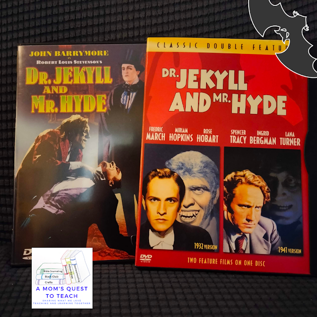two Dr. Jekyll and Mr. Hyde DVDs with A Mom's Quest to Teach logo