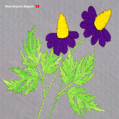 Hand Embroidery Amazing Tutorial, New Purple Flower Designs