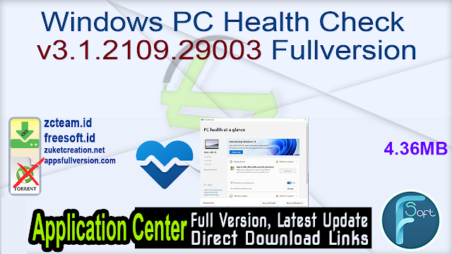 Windows PC Health Check v3.1.2109.29003 Fullversion