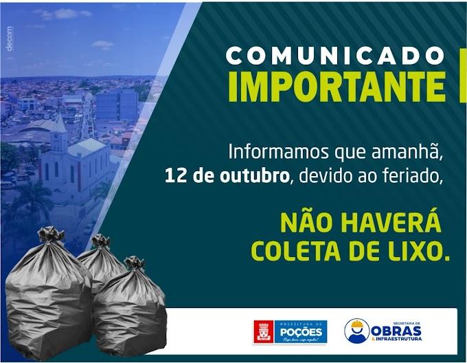 Poções: 12 de Outubro feriado não haverá coleta de lixo
