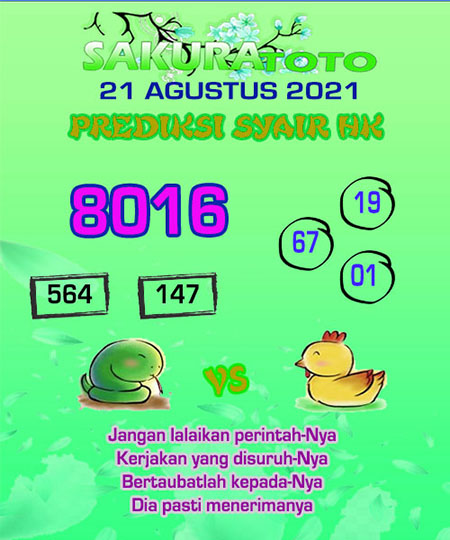 Syair SGP Sabtu 21 Agustus 2021