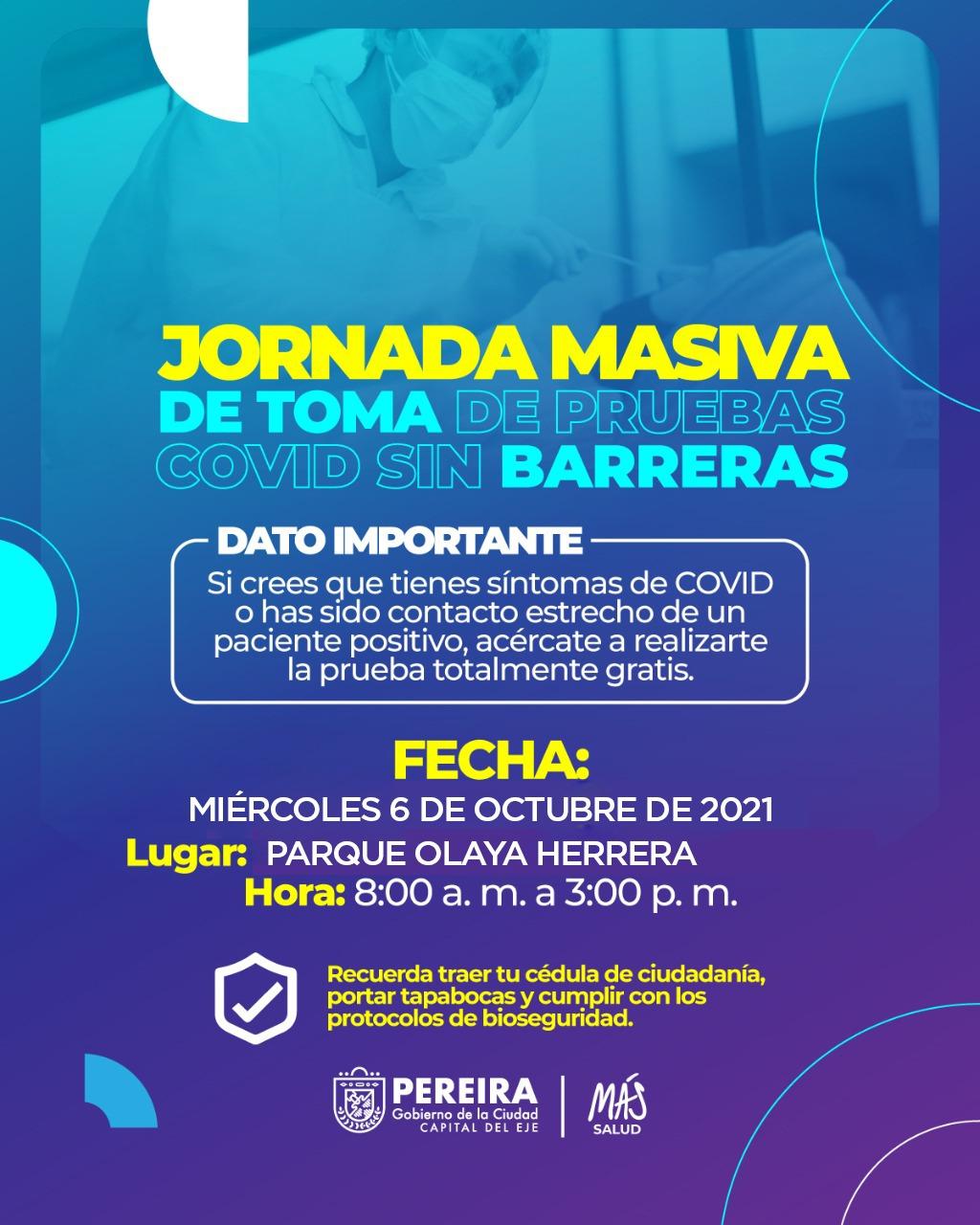 Alcaldía invita a la jornada gratuita de toma de Pruebas covid hoy miércoles 6 de octubre en el parque Olaya Herrera