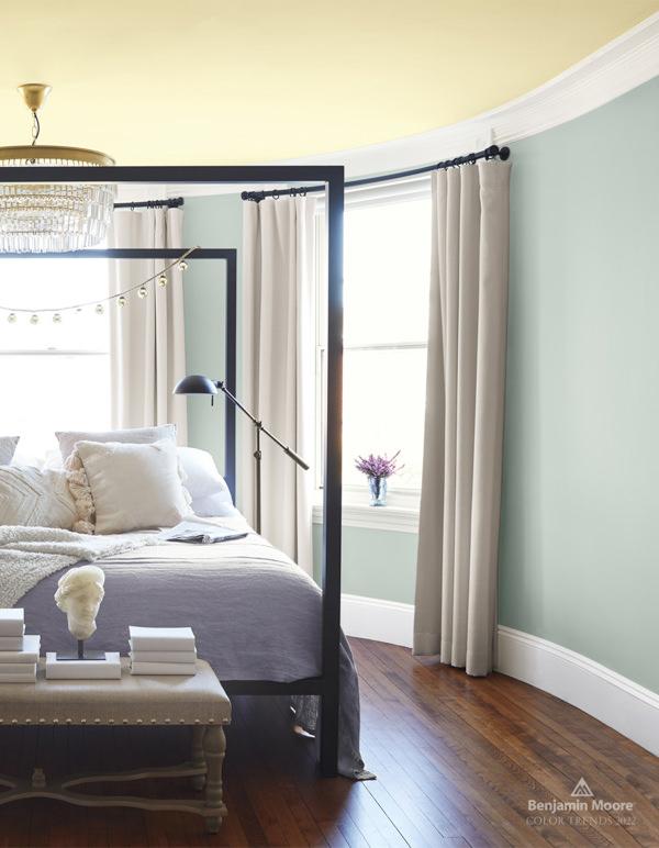 bedroom with benjamin moore quiet moments walls