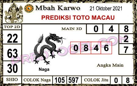 Prediksi jitu Mbah Karwo Macau Kamis 21 Oktober 2021