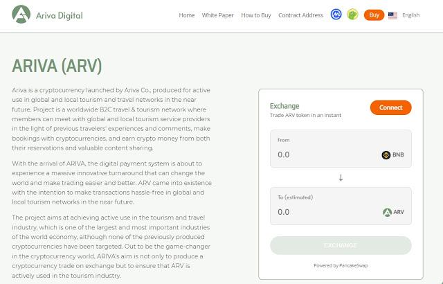Screenshot Website Ariva (ARV) Cryptocurrency