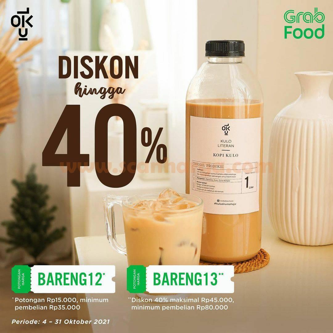 Promo Kedai Kopi Kulo Diskon 40% via Grabfood