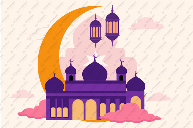Realistic three-dimensional ramadan kareem illustration free vector download