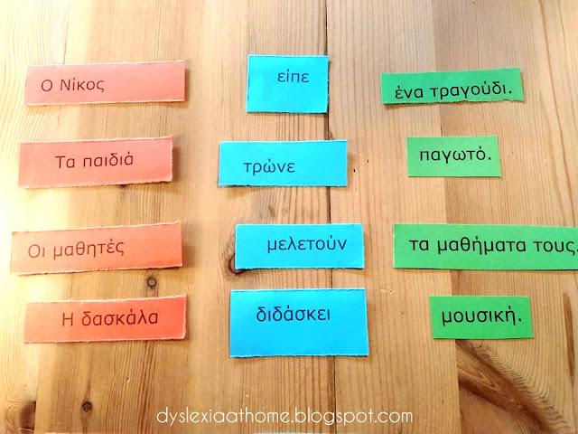υποκείμενο, ρήμα, αντικείμενο, κάρτες, χρώμα, δυσλεξία