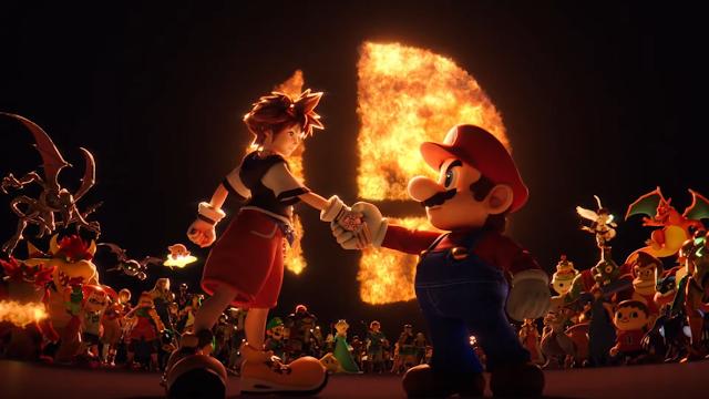 Sora Mario shaking hands Super Smash Bros Ultimate cutscene cast