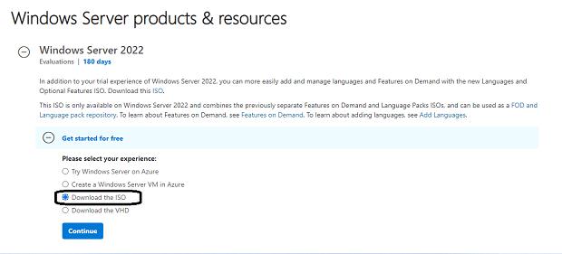 Windows Server 2022 تنزيل (ISO ، VHD ، Azure)