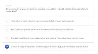Bir web sitesini arama için optimize ederken meta etiket ve başlık etiketleri arama motorunu nasıl etkiler?   (D) Gömülü mesajlar olarak arama motorunun sayfada neler olduğunu belirlemesine yardımcı olurlar