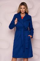 Palton SunShine albastru imblanit cu un croi drept