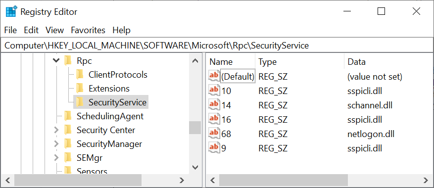 Screenshot of the Registry Editor showing HKLM\SOFTWARE\Microsoft\Rpc\SecurityService key